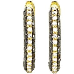Elora 18k Yellow Goldplated 1 1/6ct TDW Sterling Silver Black Diamond... ($156) ❤ liked on Polyvore featuring jewelry, earrings, black, black diamond earrings, round earrings, gold plated hoop earrings, sterling silver hoop earrings and sterling silver ea