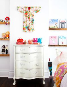 kids bedroom + shelves and vintage chest of drawers