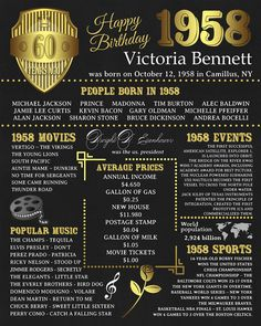 Personalized 60th Birthday Printable Poster 1958 Fun Facts