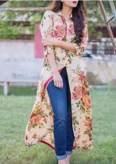 748633e956 floral cape with basic denim will give you outfit goal . #streetfashion  #floralcollection.