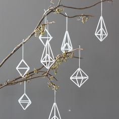 Make these modern ornaments with small coffee stirrers? #holiday #Christmas