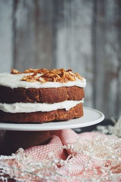 carrot cake with vegan cream cheese frosting | RECIPE on hotforfoodblog.com