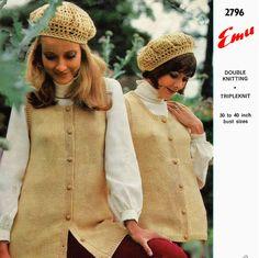 Items similar to PDF Vintage Ladies Womens Jaunty Beret Hat & Waistcoat Knitting Crochet Pattern, Emu 2796 Boho, City-Chic Mod Skater Winter on Etsy Scooter Girl, Skater Girls, Easy Knitting, Beret, 1970s, Knitted Hats, Macrame, Knit Crochet, Winter Hats