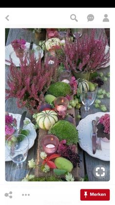 Gardening Autumn - fall garden in autumn /herbst inspiration september - october - november table - With the arrival of rains and falling temperatures autumn is a perfect opportunity to make new plantations Table Violet, Deco Nature, Autumn Table, Beautiful Table Settings, Deco Floral, Autumn Garden, Deco Table, Decoration Table, Fall Harvest