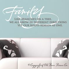 Family like branches on a tree Wall Vinyl Decals Art Graphics Sticker by OldBarnRescueCompany on Etsy https://www.etsy.com/listing/98460696/family-like-branches-on-a-tree-wall