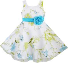 3 Layers Girls Dress Bule Flower Green Leaves Wedding Tulle Kids Size 4-12 New #SunnyFashion #Holiday