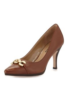 NEIMAN MARCUS, Jacki Embellished Pointed-Toe Pump, Tan, was $190.00, now $55.60 From Last Call