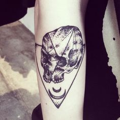 skull and crescent moon tattoo by lucky malony