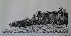 """""""Wells next the sea"""" by Di Oliver. www.dioliver.co.uk Tags: Linocut, Cut, Print, Linoleum, Lino, Carving, Block, Woodcut, Helen Elstone, Beach, Huts, Buildings."""