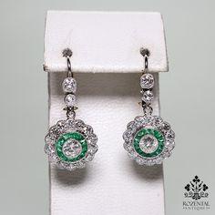 Antique Art Deco Platinum Diamond & 1.40ctw Emerald Earrings
