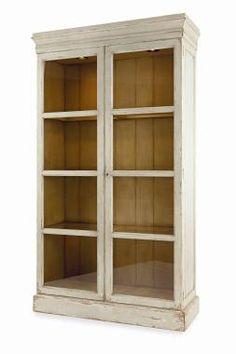 "Design Center Associates | Tabitha Door Cabinet | Cabinet | Antiqued White Paint Finish | Two Framed Glass Doors | Three Fixed Plate-Grooved Wood Shelves with Glass Inserts | Touch-Dimmer Interior Lighting | Century Furniture | DIMENSIONS 53"" W x 19.25"" D x 92.75"" H"