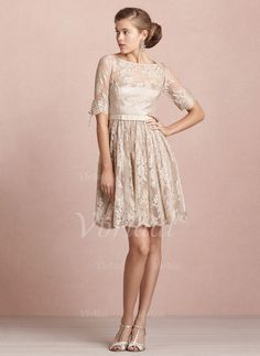 A-Line/Princess Scoop Neck Knee-Length Lace Covered Button Sleeves 1/2 Sleeves No Summer Fall Winter Bridesmaid Dress