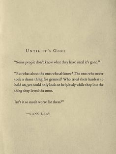 Until It's Gone ~ Lang Leav