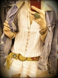 hippy sundress. native belt. boyfriend jean jacket. big stone ring.