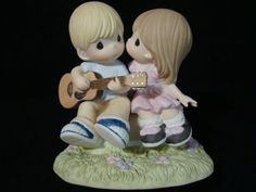 Precious Moments-Country Cowboy Playing Guitar And Singing A Song For A Kiss  #132011