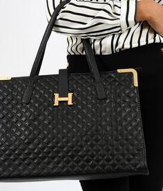 0bca178ca Bolsa Feminina Hermès Inspired em Couro Sintetico Matelassê Preta 8
