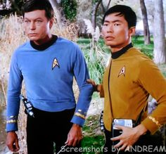"""Dr. McCoy and Mr. Sulu check things out on the mysterious planet in """"Shore Leave."""""""