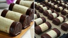 Tradiční tyčinky plněné oříškovou nádivkou a máčené v čokoládě.