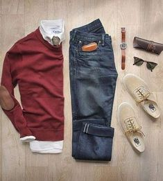 Classic casual - jeans, white button down, sweater, nice shoes.