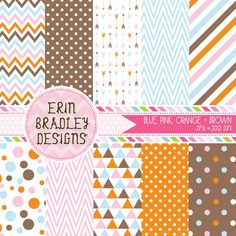 Instant Download Pink Blue Orange & Brown Digital Paper Pack Personal & Commercial Use