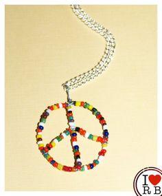 Rainbow beaded peace sign necklace - £8