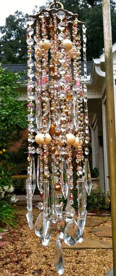 Victorian Romance & Lace Vintage Crystal WindChime with its wonderful pastel sherbert shades amidst a sea of crystal baubles!!! on Etsy, $279.00: