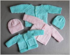 """Babbity Baby Jacket Small Premature Baby    Size:  Width:  12"""" Length:  6""""   Tension:   22sts = 4"""" (10cm)   Requires:  Around 22g of DK (8ply) yarn  2 buttons"""
