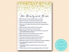 newlywed game how well do you know Blue bridal by MagicalPrintable
