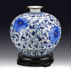 Online Shop Chinese Jingdezhen Ceramics antique guanyao pomegranate bottle decoration blue and white porcelain vase Large Porcelain Jewelry, Porcelain Vase, Fine Porcelain, Ceramic Vase, Blue And White China, Blue China, Chinese Ceramics, Delft, Vases Decor