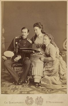 """imperial-russia: """" Grand Duchess Alexandra Iosifovna with her two """"problematic"""" children: Grand Duke Nicholas Konstantinovich, a notorious gambler and womanizer, was ultimately banished into Tashkent. Victoria Reign, Royal Photography, Princess Louise, House Of Romanov, Tsar Nicholas Ii, Grand Duke, Imperial Russia, Victorian Era, Victorian Women"""