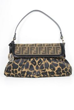 592aed73dce7 Fendi Leopard Zucca Fabric and Calf Leather Shoulder Bag - Sale
