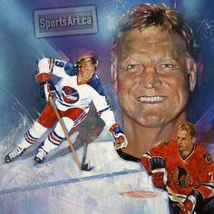 Gary McLaughlin's painting of Winnipeg Jet and Chicago Blackhawk legend Bobby Hull. Jets Hockey, Hockey Goalie, Hockey Games, Ice Hockey, Bobby Hull, Nfl Fans, National Hockey League, Sports Art, Hockey Players