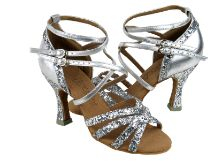 """Ladies Sparkle Open Toe Ballroom Dance Shoes - Avail Heel: 2.5"""", 3"""" - Width: Medium- Sizes 4.5-10 Professional ultra soft suede outer sole. Ultra light and more flexibility ballroom dance shoes. Softer inner sole and deluxe cushioning for more comfort. Great wedding shoes too.  $66.95"""