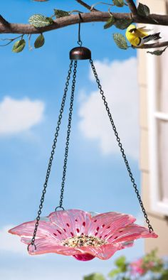 Glass Lily Flower Hanging Bird Bath & Feeder