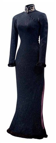 By John Galliano for Christian Dior -1997 Fall Collection. This black shimmery dress has a mandarin collar decorated with petal like motifs created by pearls. - a modern interpretation of the cheongsam.