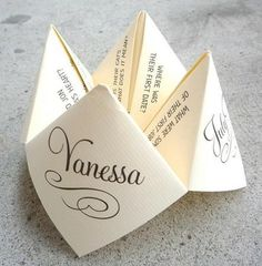 Give your wedding guests something fun to do, with this 'cootie-catcher' quiz. Set at each place setting at the wedding reception.