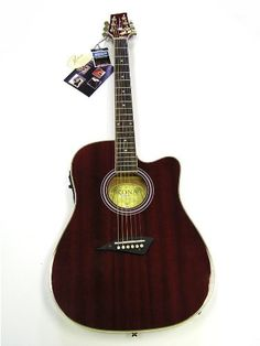 Kona K2 Series Thin Body Acoustic/Electric Guitar - Red Kona K2, Acoustic, Electric, Music Instruments, Musical Instruments
