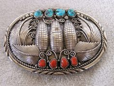 STERLING SILVER HANDMADE NATIVE AMERICAN CORAL & TURQUOISE BELT BUCKLE