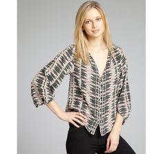 Dolce Vita hot pink and black printed silk three quarter sleeve 'Leonora' blouse