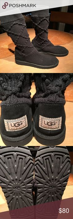 Ugg black sweater boot S/N 5879. Size 9. Classic argyle knit authentic ugg boots made to look like your favorite sweater. These boots are black knit, size 9 and never been worn. Ugg Shoes Winter & Rain Boots