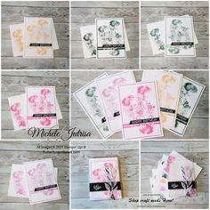 """The Theme for our Blog Hop this month is """"In-Colour"""" & I have made a gift pack of Birthday Cards using the 5 In-Colours – Fresh Freesia, Polished Pink, Evening Evergreen, Soft Succulent and Pale Papaya. Click on the image to read more on my Blog. Happy Birthday, Birthday Cards, Stampin Up, Acetate Cards, Shops, Stamp Pad, Glue Dots, Make A Gift, Embossing Folder"""