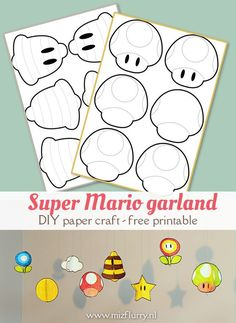 Free printable for a Super Mario Garland DIY. Paper craft for kids Mario Birthday Banner, Super Mario Birthday, Super Mario Party, 7th Birthday, Mario Kart, Mario Bros., Super Mario Free, 3d Paper, Paper Craft