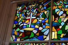 The beautiful mosaic windows at the Tabernacle Baptist Church in Beaufort, SC, were made by a church member named Lee Meyers in the late 1970's. She was a nurse who worked in the ER at Beaufort Memorial Hospital. When she was diagnosed with cancer, she began making the windows, never thinking that she would have enough time to finish them, but finish them she did!