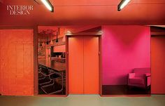 With Flying Colors: Gensler Designs NYSID's New Headquarters | The student entry's elevator lobby also features murals showing anonymous modernist interiors. #design #interiordesign #interiordesignmagazine #art #decor #university