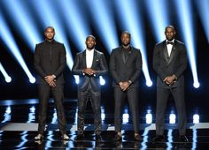 (L-R) NBA players Carmelo Anthony, Chris Paul, Dwyane Wade and LeBron James speak onstage during the 2016 ESPYS at Microsoft Theater on July 13, 2016 in Los Angeles, California. - The 2016 ESPYS - Show