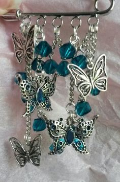 Kilt pin with crystals and butterflies