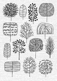 ways to draw stylized trees -- perfect for making your own wrapping paper of holiday cards.