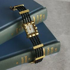 Beaded Watch in Black and Gold