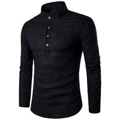 AIEOE Mens Casual Linen Shirts Long Sleeve Banded Collar Striped Henley Tops