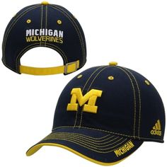 c7aa1333ea8 Michigan Wolverines adidas Sideline Slouch Performance Adjustable Hat –  Navy Blue Michigan Football Gear